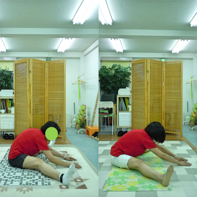 開脚は、背骨が丸まるのではなく、前に伸びる動き